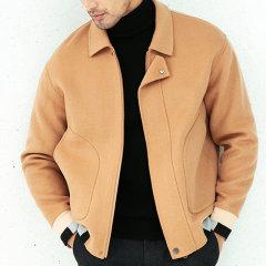 Senza Cieco/Senza Cieco 男士外套>男士夹克秋冬新款翻领短款简约双面羊毛呢子外套夹克图片
