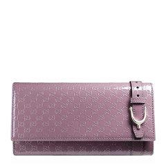 【包税】GUCCI/古驰 女士漆皮皮带扣装饰长款翻盖钱包零钱包手拿包多色可选图片
