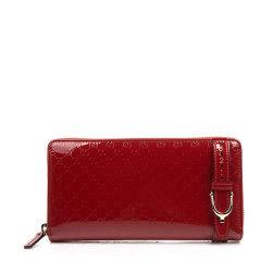 【包税】GUCCI/古驰 女士漆皮皮带扣装饰长款拉链钱包多色可选图片