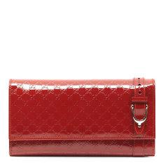 GUCCI 古驰 女士漆皮皮带扣装饰长款翻盖钱包图片
