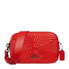 COACH/蔻驰  jes系列女士红色牛皮星星条纹字母徽标拉链开合单肩包斜挎包盒子包相机包女包 F1904QBQRG图片