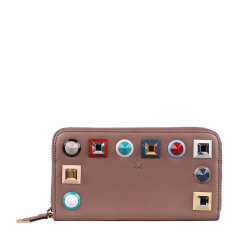 FENDI/芬迪 女士小牛皮多色螺栓装饰全拉链式长款钱夹钱包手拿包女包 8M0299-SR0 多色可选图片