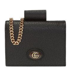 【包税】GUCCI/古驰 女士GG徽标牛皮Gucci标识短款链双折卡包钱包零钱包女包 617195-DJ2QS多色可选图片