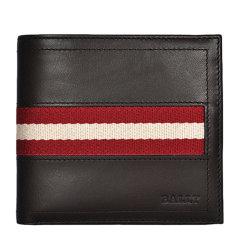 BALLY/巴利  男士纯色牛皮条纹装饰短款对折钱夹钱包男包 多色可选 616659图片