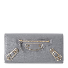 Balenciaga/巴黎世家 女士闪亮粒面山羊皮铆钉元素按扣开合长款卡包钱包手拿包女包 390184 多色可选图片