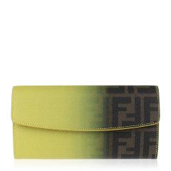 FENDI/芬迪 女士黄棕渐变色皮革双F印花按扣开合长款手拿包手包钱包女包 8M0340-W2C-F0P3V图片