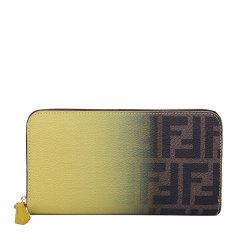 FENDI/芬迪 女士黄棕渐变色PVC配皮双F印花拉链开合长款手拿包手包钱包女包 8M0299-W2C-F0P3V图片