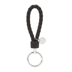 Bottega Veneta/葆蝶家 男女款中性款黑色羊皮编织钥匙扣 113539 V001D DX图片