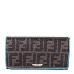 FENDI/芬迪 女士棕色PVC双F印花按扣开合长款手拿包手包钱包女包 8M0298-GRP-F0P3N图片