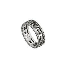 【爆款主推】【正品盒装】Gucci古驰正品男女 方形G镂空雕花图案戒指图片