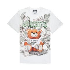 【包税】MOSCHINO/莫斯奇诺 女士美金熊印花圆领短袖T恤DV07015440图片