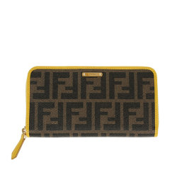 FENDI/芬迪 女士棕色PVC配皮经典双F印花长款手拿包手包钱包女包 8M0299-GRP-F0P3N图片