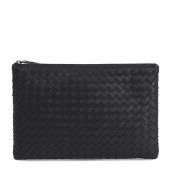Bottega Veneta/葆蝶家 男女同款中性黑色羊皮编织款时尚简约拉链开合时尚钱包手包手拿包 522429-001N-1000图片