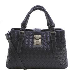 Bottega Veneta/葆蝶家 女士牛皮黑色编织款卡扣开合单肩包斜挎包手提包女包 493994-VQ13B-1000图片