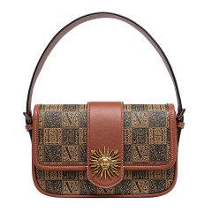VH2020新款VANESSA HOGAN/VANESSA HOGAN 牛皮复古优雅女士包包潮流行撞色字母手提包时尚太阳神方包图片