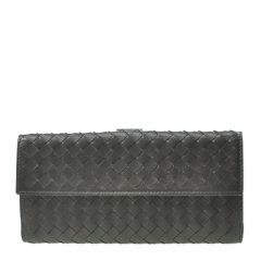 Bottega Veneta/葆蝶家 女士黑色羊皮编织款按扣开合钱包手包手拿包女包 134075-V001N-1000图片