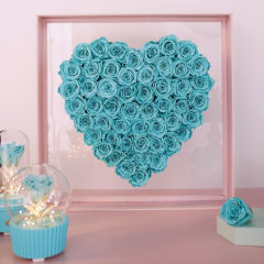 【新年礼物】 FlowerFour/FlowerFour 厄瓜多尔Roseamor52朵心形永生玫瑰花盒/厄瓜多尔Roseamor52朵Tiffany蓝永生玫瑰花盒新疆西藏等偏远地区物流停发图片