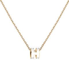 HERMES/爱马仕 新款限量 Mini Pop H 白色吊坠(金色,玫瑰金色)项链图片