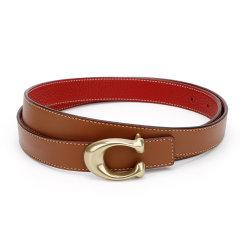 【爆款主推现货秒发】COACH/蔻驰女士专柜款皮质腰带皮带棕色配红色/黑色图片
