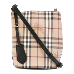 BURBERRY/博柏利 Lorne 女士单肩水桶包织物/配皮 小号 Haymarket格纹 水桶包单肩包斜挎包图片