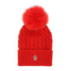 Moncler/蒙克莱 女士罗纹羊毛顶部毛绒球装饰正面刺绣徽标针织帽无檐帽女帽 3B70001-0402A 多色可选图片