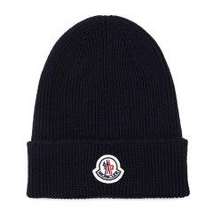 Moncler/蒙克莱 男士罗纹羊毛贴片徽标针织帽豆豆帽无檐帽男帽 3B70500-A9342 多色可选图片
