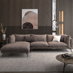 咖色科技布组合布艺沙发 双人位配贵妃位组合现代简约单人位两人位三人贵妃椅沙发 北欧客厅沙发家具软垫靠背 STEINHAFELS图片