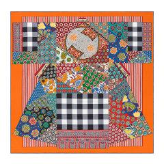 HERMES/爱马仕 女士拼色真丝斜纹手工卷边萨拉撒随想印花丝巾方巾头巾披肩围巾 H003273S 多色可选图片