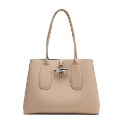 Longchamp/珑骧 ROSEAU系列女士纯色牛皮开放式包口别扣开合单肩包手提包购物包女包 10060HPN 多色可选图片
