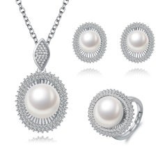CLORIS/克劳瑞斯 【礼盒套装】优雅大方10-10.5mm天然淡水珍珠好品质三件套耳环/戒指/项链 白色 礼物图片