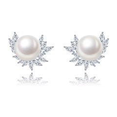 CLORIS/克劳瑞斯 【时尚焦点】优雅大方10-10.5mm天然淡水珍珠好品质三件套耳环/戒指/项链 白色 礼物图片