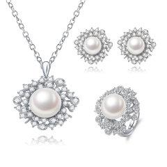 CLORIS/克劳瑞斯 【璀璨星辰】优雅大方10-10.5mm天然淡水珍珠好品质三件套耳环/戒指/项链 白色 礼物图片