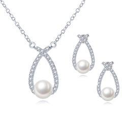 CLORIS/克劳瑞斯 【新品特惠】简约大气9-10mm天然淡水珍珠好品质 耳环 项链两件套 白色图片