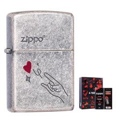 zippo之宝打火机 正品zippo火机 古银系列 爱的牵绊 爱心飞起 爱心猫 耗材套装图片