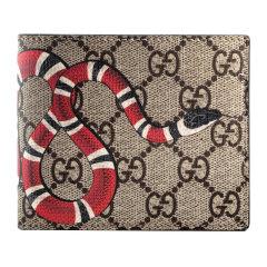 GUCCI/古驰 钱包经典款男士米色乌木色珊瑚蛇印花图案人造帆布配皮革短款对折钱包 451266K551N8666图片