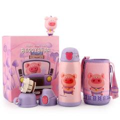 3D礼盒装儿童保温杯大容量宝宝新款吸嘴水杯不锈钢背带水壶630ml图片