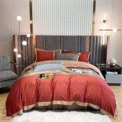100支纱数码印花全棉四件套 贡缎面料 美式风情被套床单4件套-摩黛丝缇图片