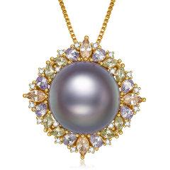 【新款】SANDYRILLA/仙蒂瑞拉 大气大珠12.5-13mm天然稀有紫色淡水珍珠戒指珍珠吊坠两件套送礼佳品图片