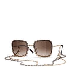 【国内现货秒发】CHANEL/香奈儿 明星同款 香奈儿墨镜 太阳镜 方框时尚链条款 型号ch4244 双链条款图片