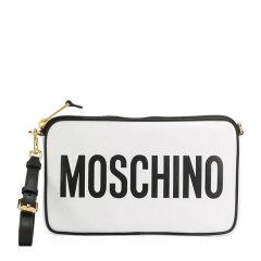 【包税】MOSCHINO/莫斯奇诺 女士纯色小牛皮经典字母徽标印花拉链开合单肩包斜挎包手拿包手包腕包女包 A7417-8001 多色可选图片