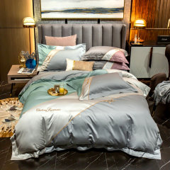 Fantti/芬缇 床上用品100支澳棉拼色绣花四件套被罩床单被单枕套床盖-普罗旺斯图片