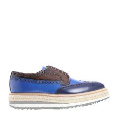 【大陆现货秒发】牛皮材质蓝棕拼色布洛克雕花系带男士商务休闲鞋 男鞋 皮鞋 PRADA/普拉达图片