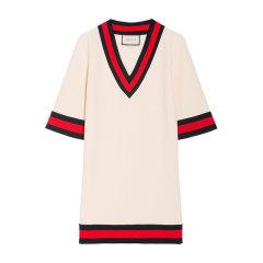 【包税】GUCCI/古驰  黑色/白色 条纹 V领 女士时尚 黑色 连衣裙 470315 X5S34 1301图片