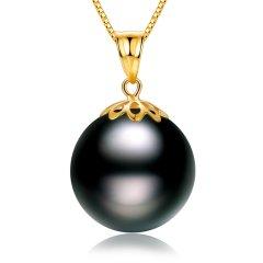 【特惠款】SANDYRILLA/仙蒂瑞拉 正圆强光18K金10-12mm大溪地黑珍珠吊坠图片