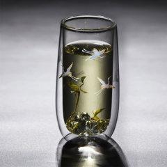 个杯堂 双层玻璃杯 绿茶杯办公室茶杯玻璃茶杯泡茶杯子茶具功夫茶杯主人杯 仙鹤金银烧-自在杯图片