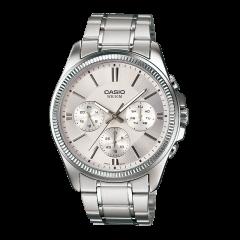 CASIO/卡西欧男表商务双日历石英手表时尚腕表 白盘钢带MTP-1375D-7A图片