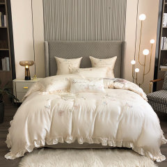 Fantti/芬缇 床上用品80支兰精天丝绣花四件套被罩床罩被单枕套床盖-蝶舞图片