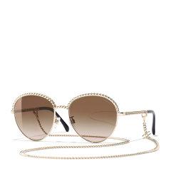 【预售】CHANEL/香奈儿 新款Chanel香奈儿太阳镜时尚圆框编织链条大框圆形墨镜女单链条CH4242图片