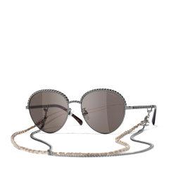 【预售】CHANEL/香奈儿 新款Chanel香奈儿太阳镜时尚圆框编织链条大框圆形墨镜女双链条CH4242图片