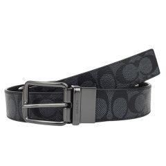 【爆款主推现货秒发】COACH/蔻驰男款黑色皮质针扣腰带皮带礼盒F64840AQ0图片